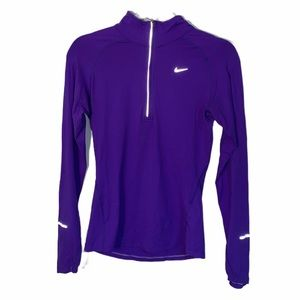 NIKE PURPLE DRI-FIT FITTED LONG SLEEVE TOP SIZE XS